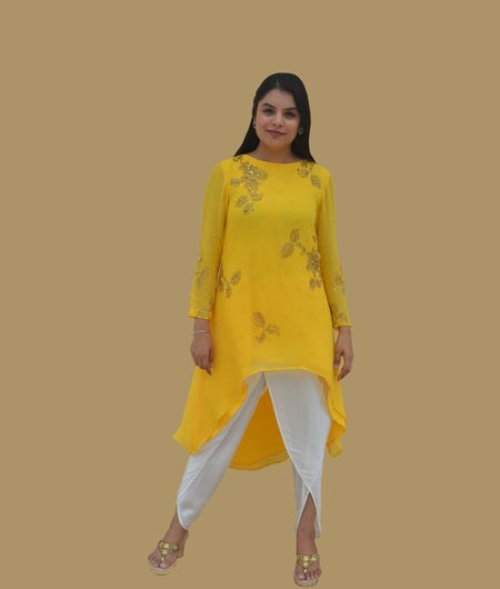 Floral Work Yellow Georgette Tunic and Dhoti Pants