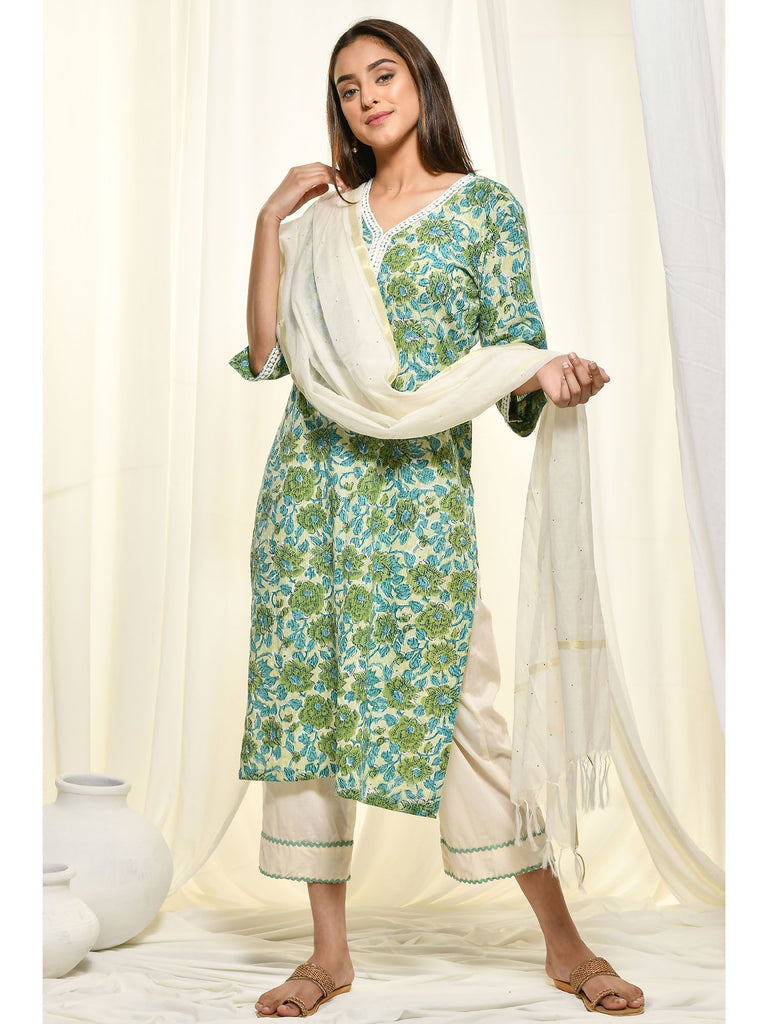 Hand Block Green Cotton Salwar Suits and Sets