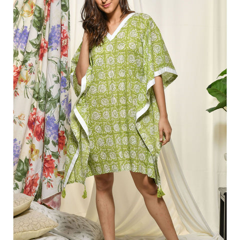 Hand Block Green Cotton Loungewear