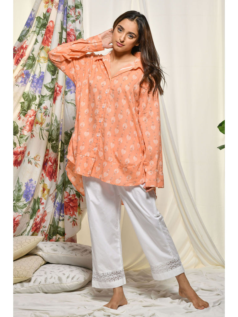 Hand Block Peach Cotton Loungewear