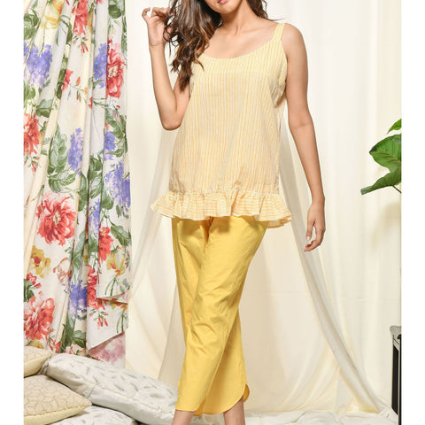 Hand Block Yellow Cotton Loungewear