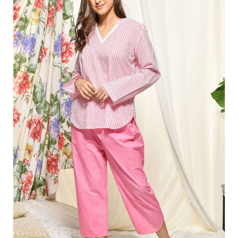 Hand Block Pink Cotton Loungewear