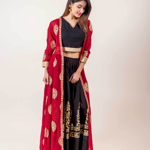 Jacket Style Indo Western Dress With Golden Prints In Red And Black Hues