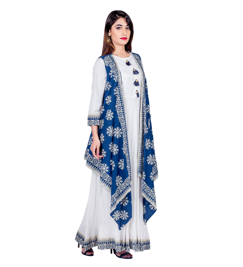 Blue and White Hand Block Cotton Maxi Dress