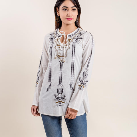 Stylized Design Embroidered Long Sleeve White Short Kurta