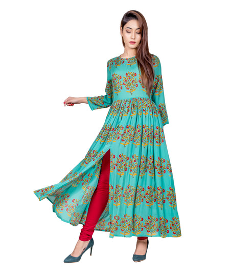 Sea Green and Red Hand Block Cotton Kurta