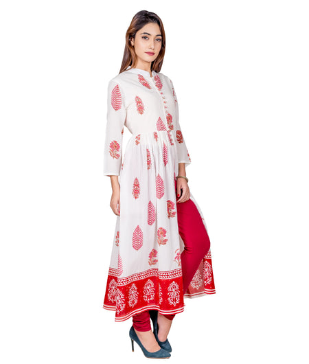 Off White Hand Block Cotton Kurta
