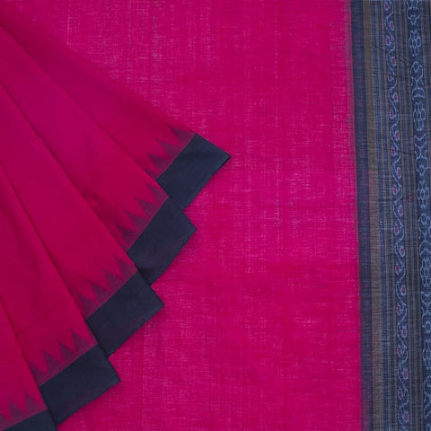 Orissa handloom sambalpuri cotton temple border Saree in Red