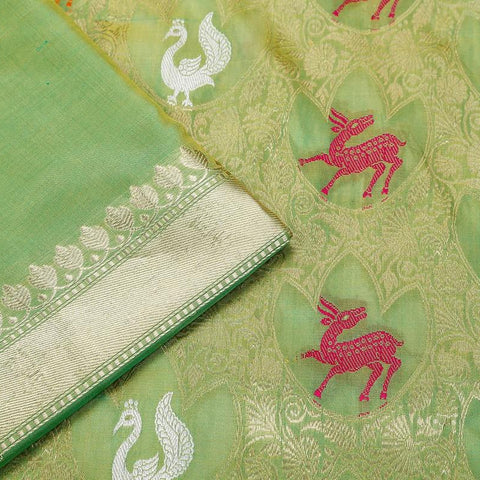 Banarasi katan silk light green Phekua Saree