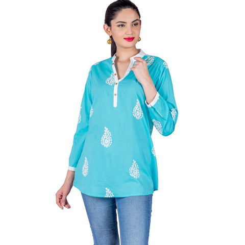 Aqua Blue White Coconut Buttoned Up Printed Short Kurti