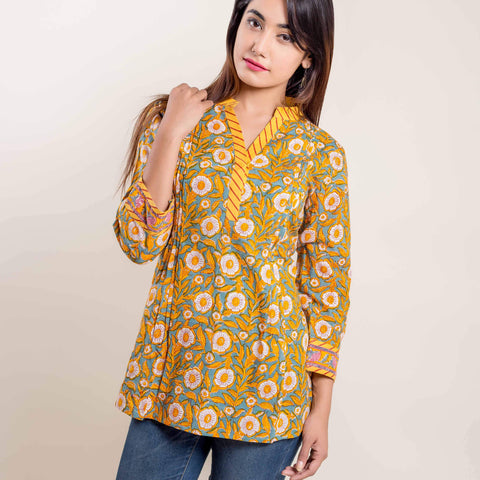 Yellow Blue Floral Hand Block Printed Short Kurti