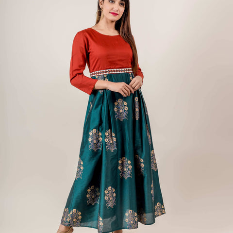 Golden Printed Indo Western Dress In Rust And Teal Shades