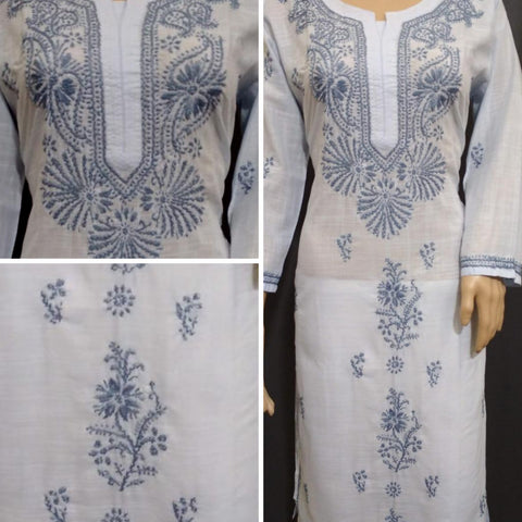 Embroidery Grey Cotton Kurta