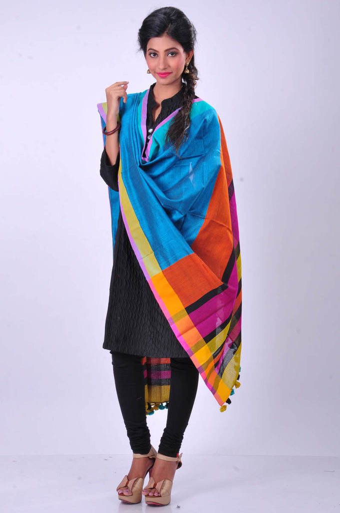 Bengal Cotton Sky Blue - Multicolor Dupatta