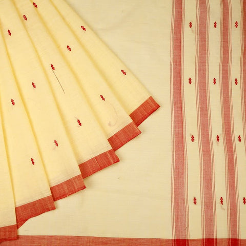 Assam Cotton Saree In Cream With Red Stripes And Floral Butti Pall