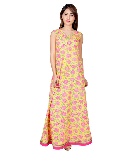 Yellow and Pink Hand Block Cotton Dress