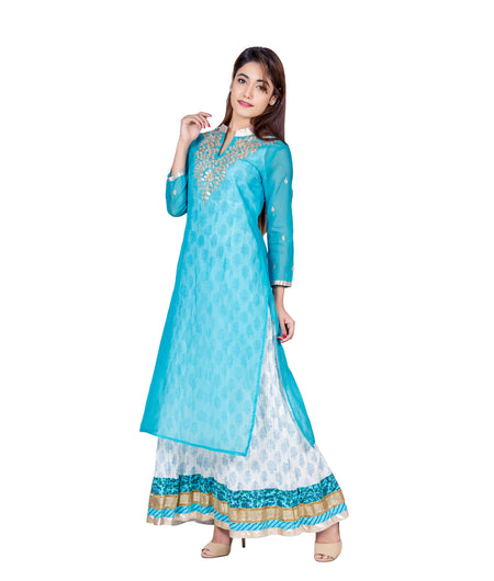 Turquoise Hand Block Cotton Chanderi Kurta