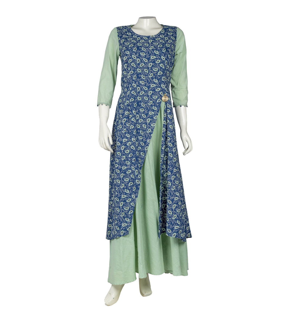 Blue and Cardamom Green Hand Block Cotton Dress