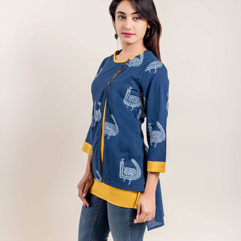 Indigo Yellow Double Layered Printed Short Kurti