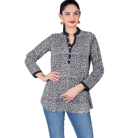 Black White Front Buttoned Floral Hand Block Printed Kurti Top