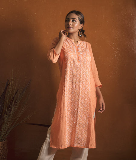Orange and White Chikankari  Kurta