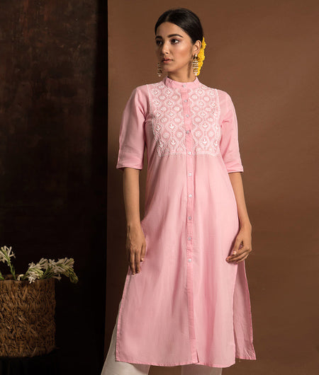 Dark Pink and White Chikankari  Kurta