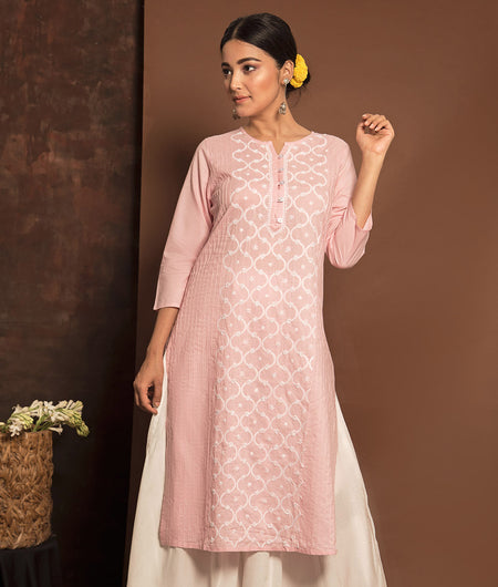 Light Pink and White Chikankari  Kurta