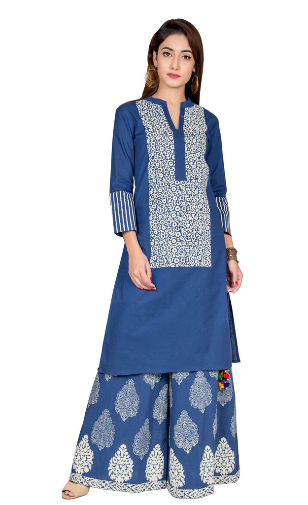 Indigo Blue hand block cotton Kurta Set
