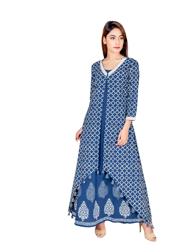 Indigo Blue hand block cotton Dress
