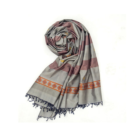 Baluchari Weave Pure Silk Dupatta in Grey & Brown with paisly motif
