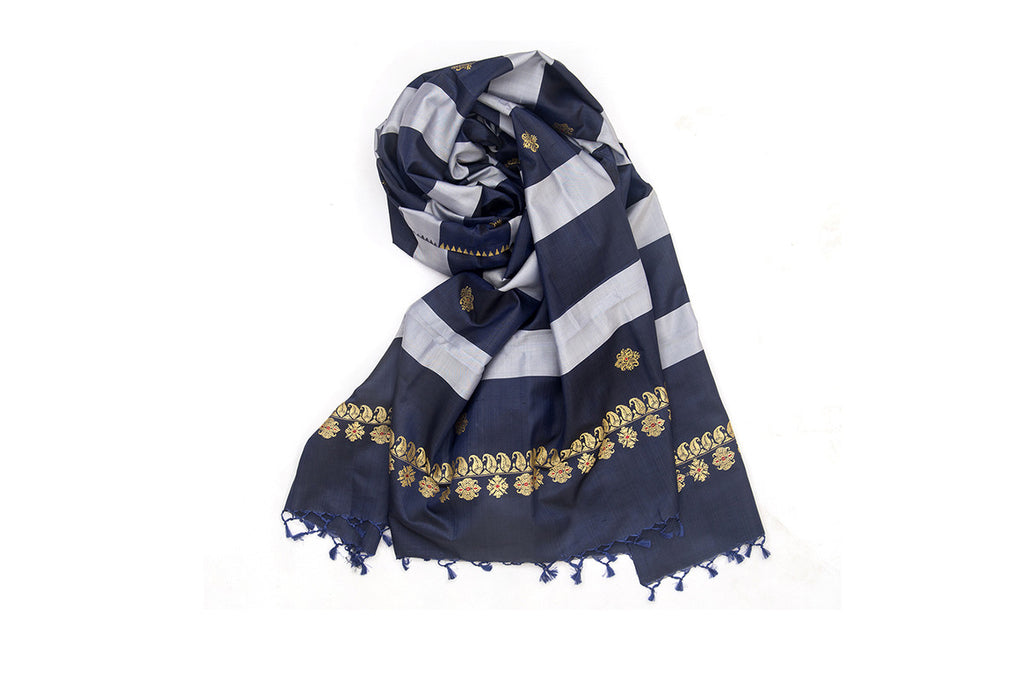 Baluchari Weave Pure Silk Dupatta in Black & Grey Floral motif