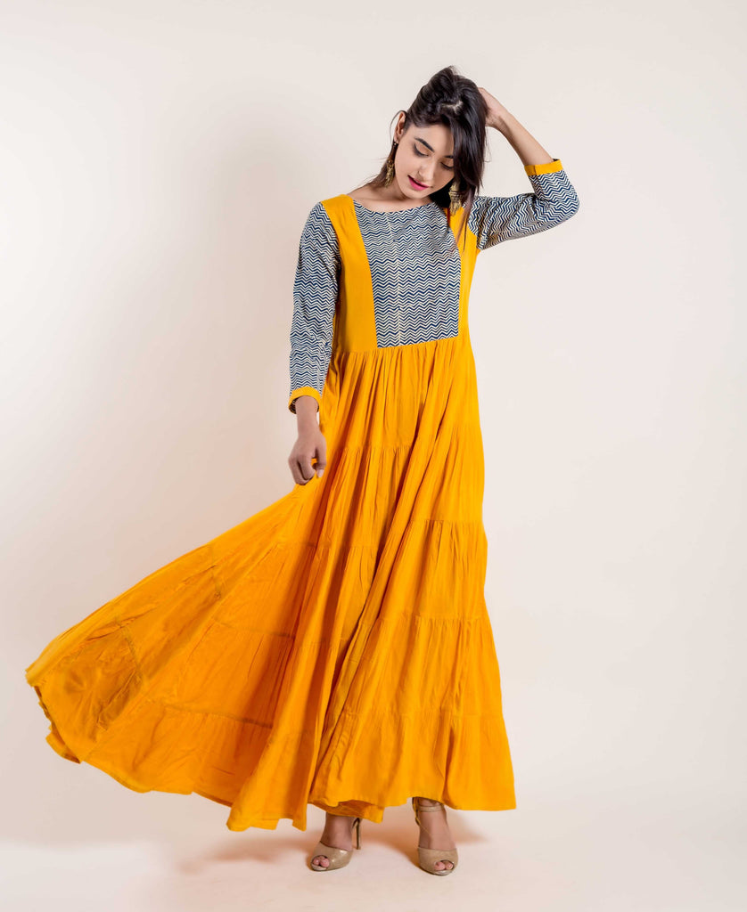 Mustard Yellow Hand Block Rayon Dress