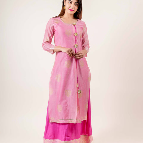 Tasseled Chanderi Pink With Gold Gota Print Dress