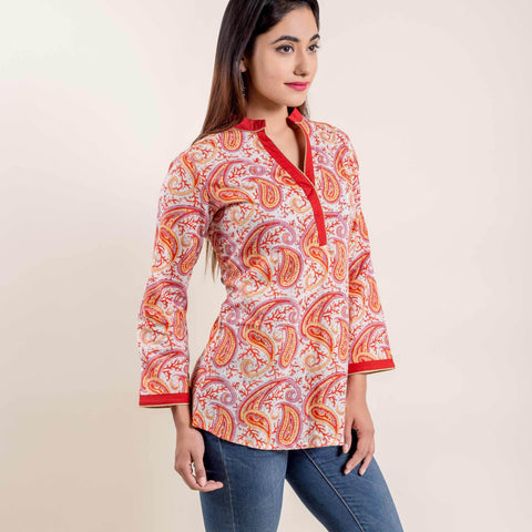 Orange White Paisley Design Printed Short Kurti