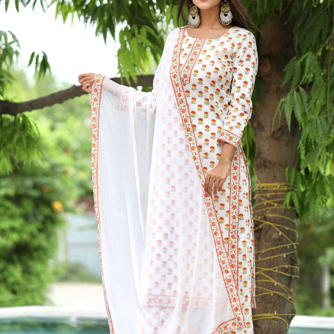 Orange Block Printed Kurta Plazzo Twin Set With Hand Block Work