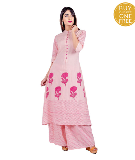 Peach and Pink Hand Block Cotton Suit Set