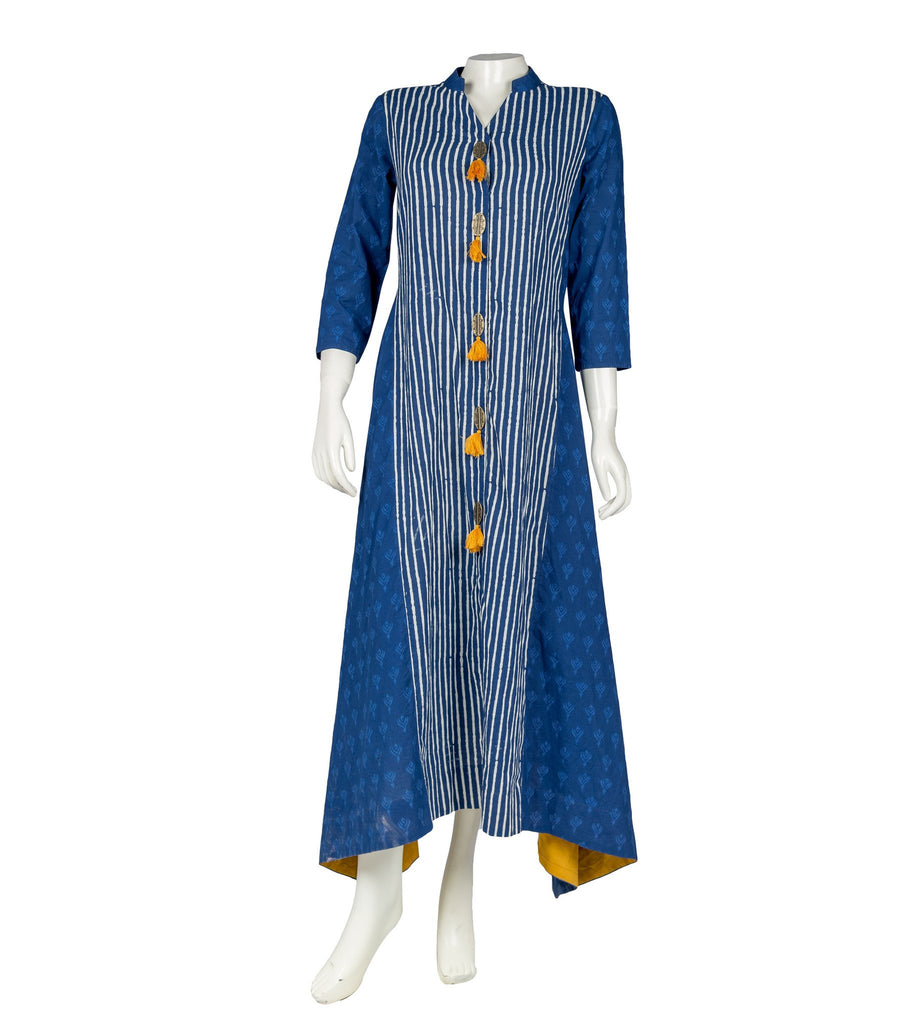 Blue and White and Yellow Hand Block Cotton Dress