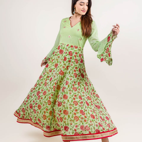Elegant Embroidered Long Anarkali Dress