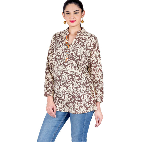 Brown Beige Front Decorative Buttoned Hand Block Print Kurti Top