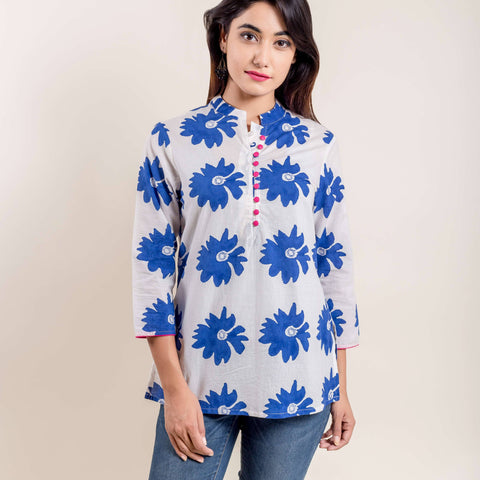 Blue White Floral Hand Block Printed Short Kurti