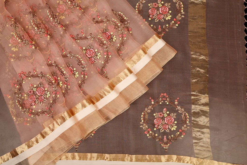 Parsi Work Handwoven Organza Silk Saree