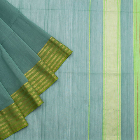 Maheshwari Cotton Silk Saree In Dull Green