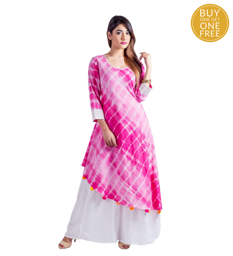 White and Fuschia Tie And Dye Rayon Dress
