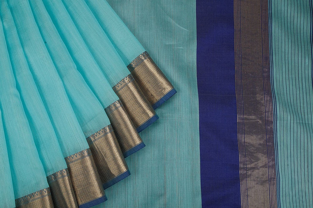 Silk Cotton Handloom Saree Sky blue with Zari Border