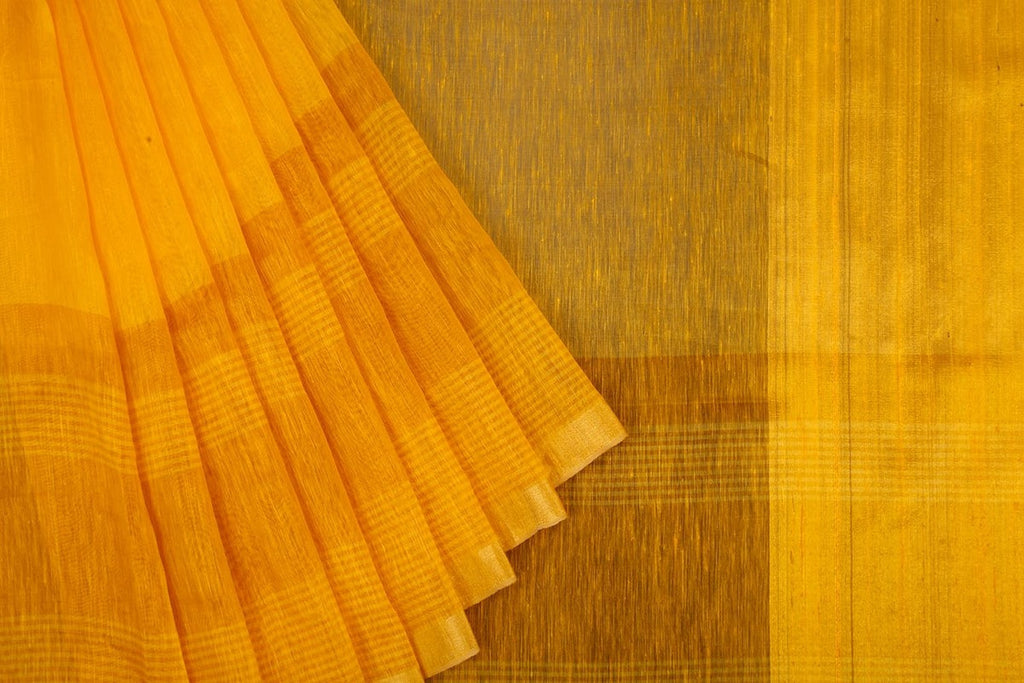 Linen Silk Handloom Saree in golden yellow