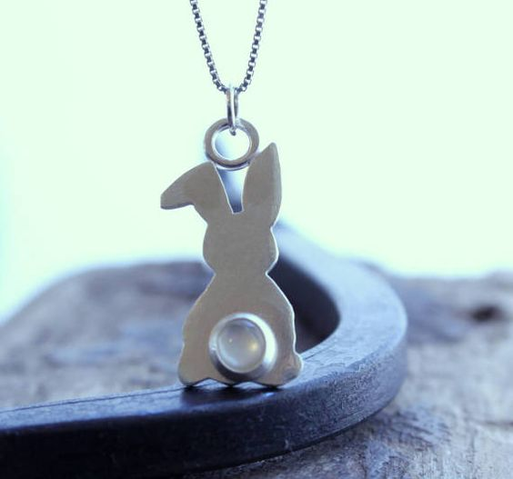 Bunny Rabbit Necklace Sterling Silver Pearl Necklace