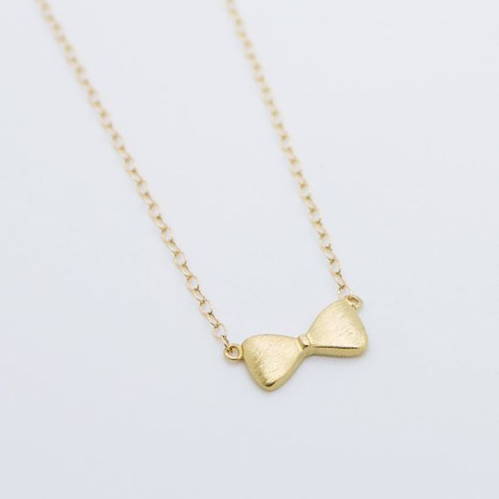 bow gold filled necklace pretty