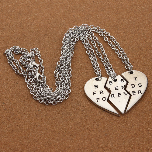 Cute Heart Necklace for Three Best Friends
