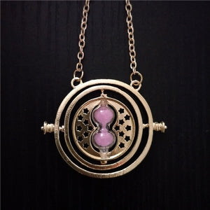 Hermione Granger Rotating Time Turner Necklace Gold Hourglass