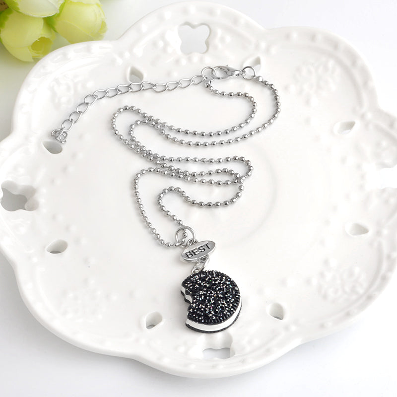 2pcs/set Miniature Oreo Biscuits & Coffee Pendant Necklace